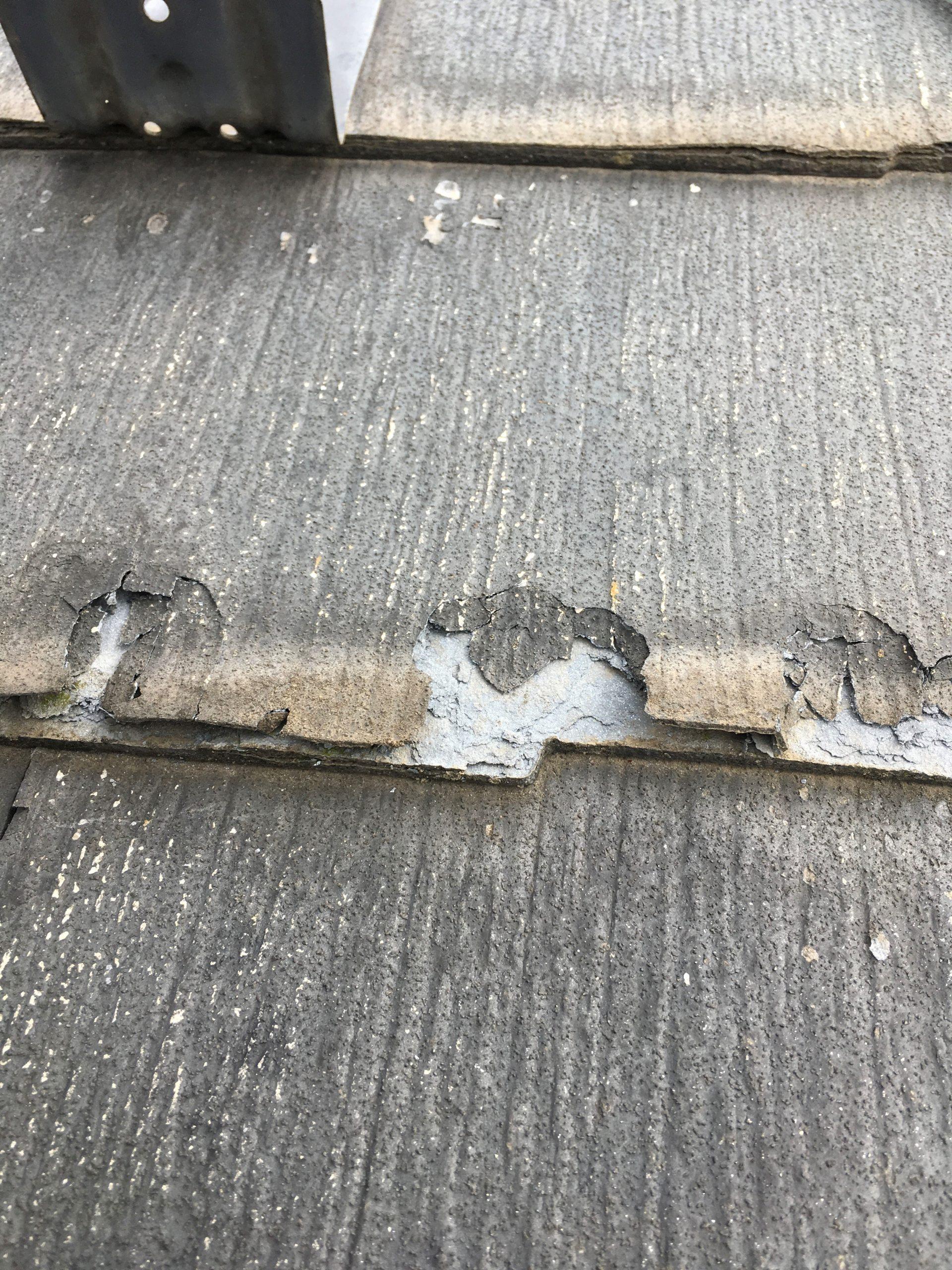 【取手市】ポロポロと剥離したパミールの屋根にカバー工法